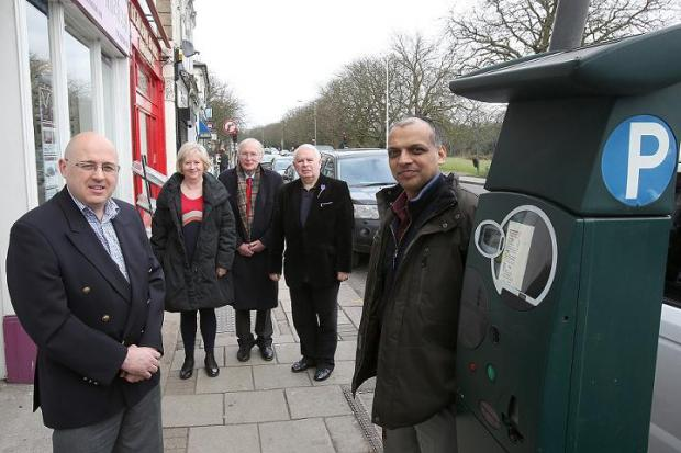 Cllrs Keith Prince, Linda Huggett, Michael Stark and Jim O'Shea with Tan Dhillon