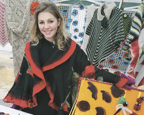 Vaida Zeringyte, 22, has started Busy Ladybird, selling a selection of handmade earrings, felted flower brooches, knitted children's clothes and hats, crocheted blankets and shawls.