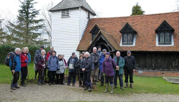 The West Essex Ramblers at St Andrew's Church in Greensted - the oldest wooden church in the world