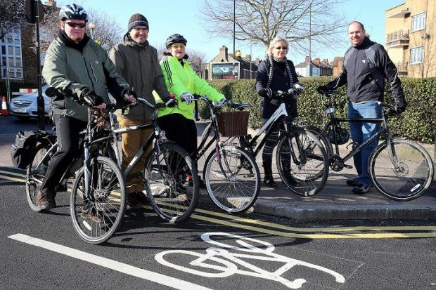 L-R, Richard Vincent, Gerhard Weiss, Jan Kartun, Charlotte May and Simon Munk, Waltham Forest Cycling Campaign
