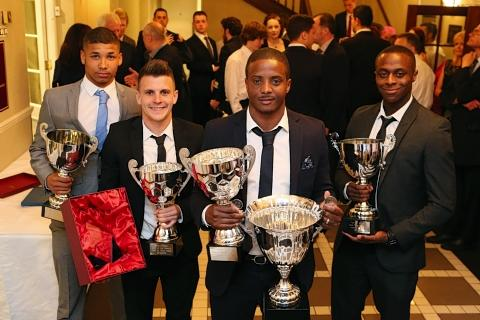 East London and West Essex Guardian Series: De'Reece Vanderhyde, Dean Cox and Kevin Lisbie celebrate their awards: Simon O'Connor