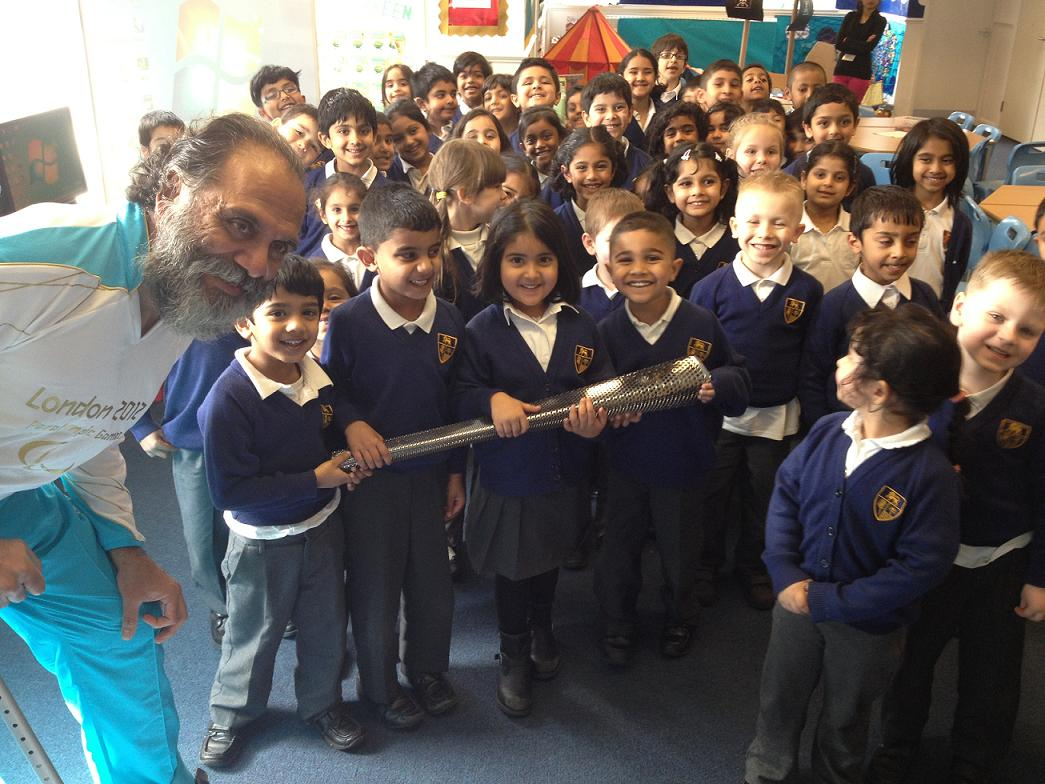 Arun Patel with the children from Avanti Court