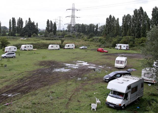 The new travellers site beside the A406.