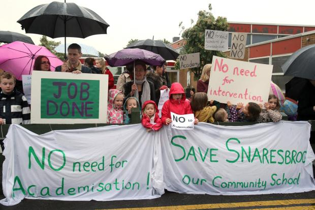 Parents and teachers last year campaigning against turning Snaresbrook Primary School into an academy.