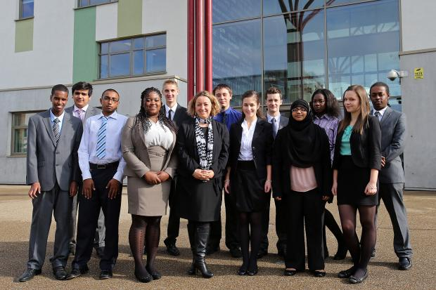 Headteacher Jenny Smith, centre, with Frederick Bremer School students last year.