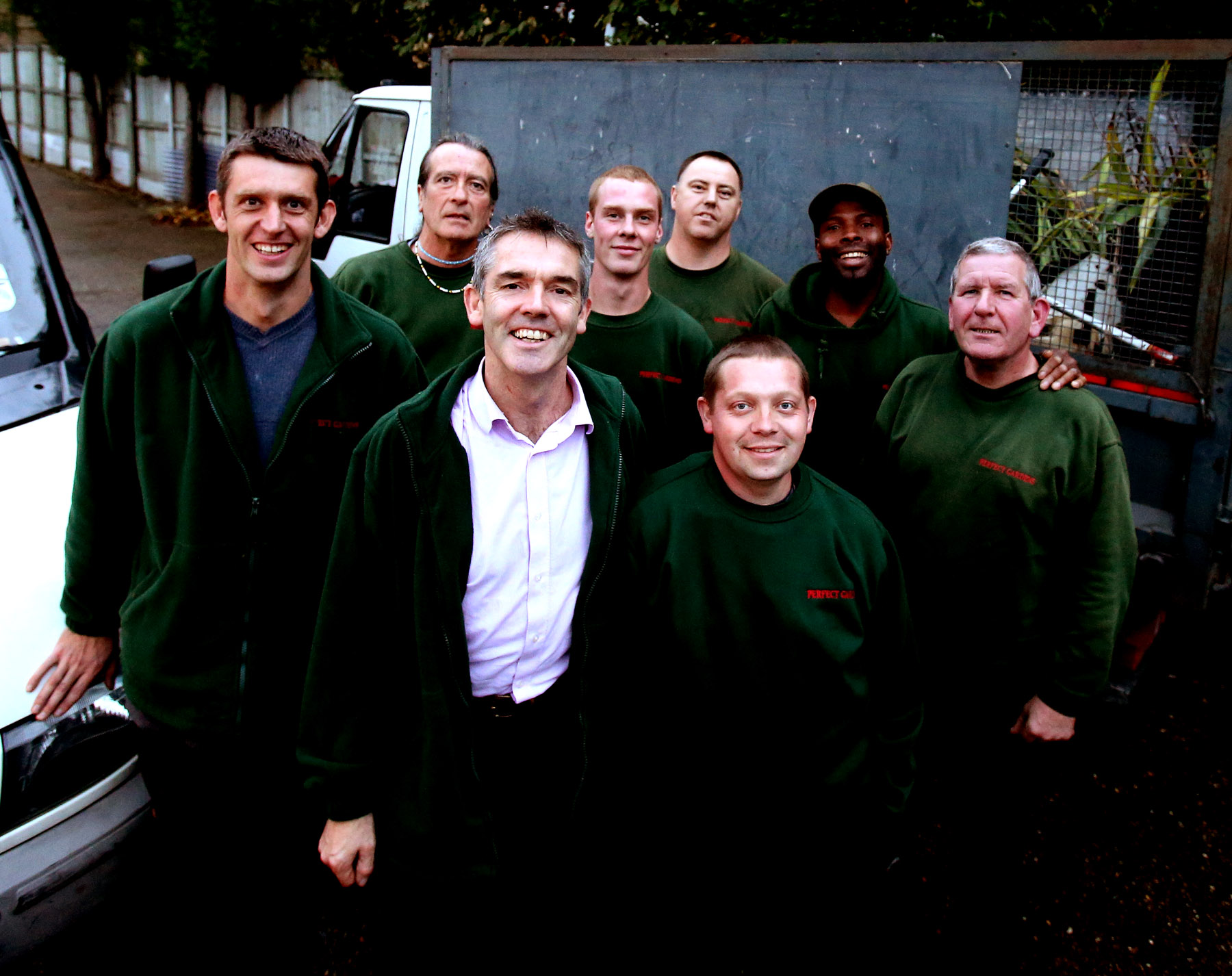 Perfect Gardens staff members Daniel Adams, Mark Wallace, Matt Yull, Matthew Trowder, Pete Jones, Dave Flack, Courteney Williams and Albert Rudgeley.