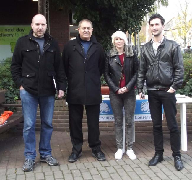 Tom McLaren with Mark Glazer of Redbridge Neighbourhood Watch, Emma Best and Joel Herga