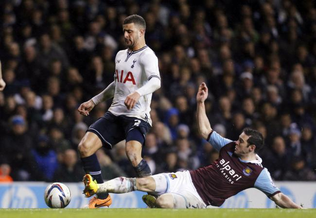 Kyle Walker takes on Matt Jarvis. Picture: Action Images