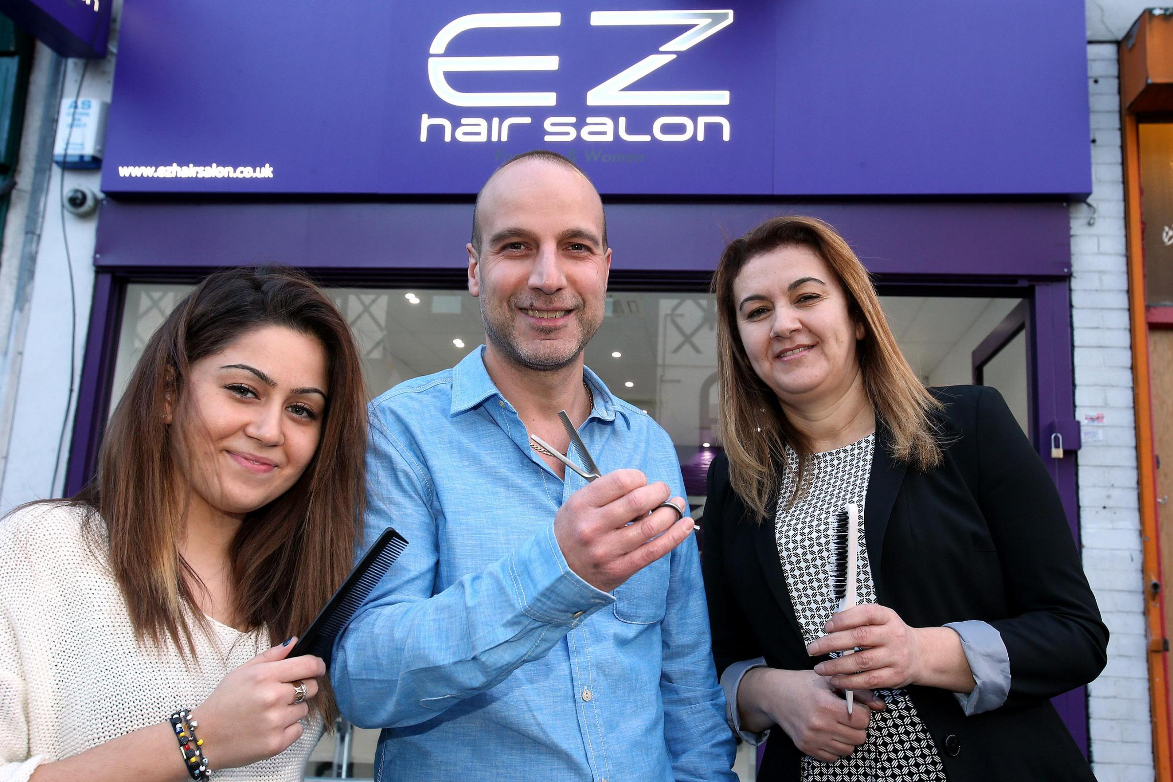 Fatma Ciftci with Erol and Zulfiye Huseyin at their new salon