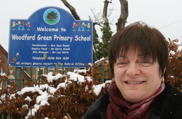 Head teacher Jane Powell outside Woodford Green Primary School