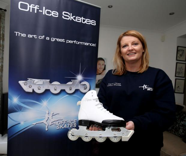 Chingford entrepreneur Karen O'Neill with the off ice-skates