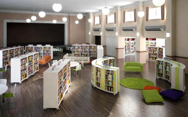 Artist impression of the new library in Sir James Hawkey Hall