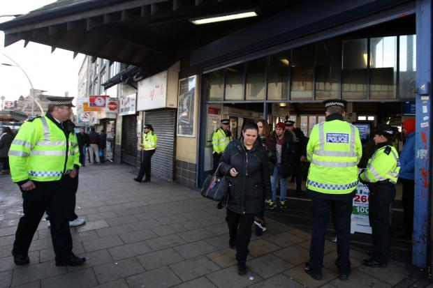 Police outside Ilford station