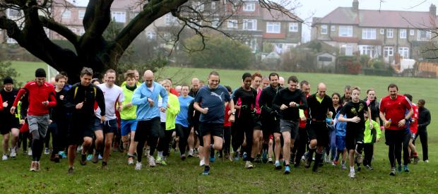 Runners celebrating Walthamstow Parkrun's first anniversary.