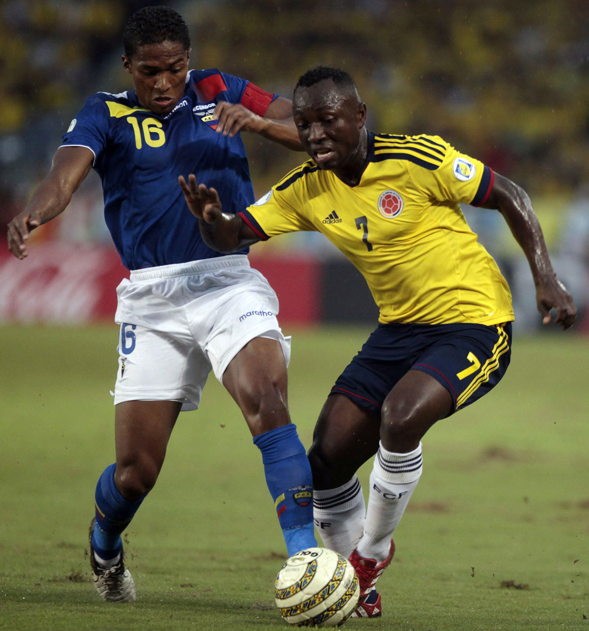 Pablo Armero in action for Colombia against Ecuador. Picture: Act