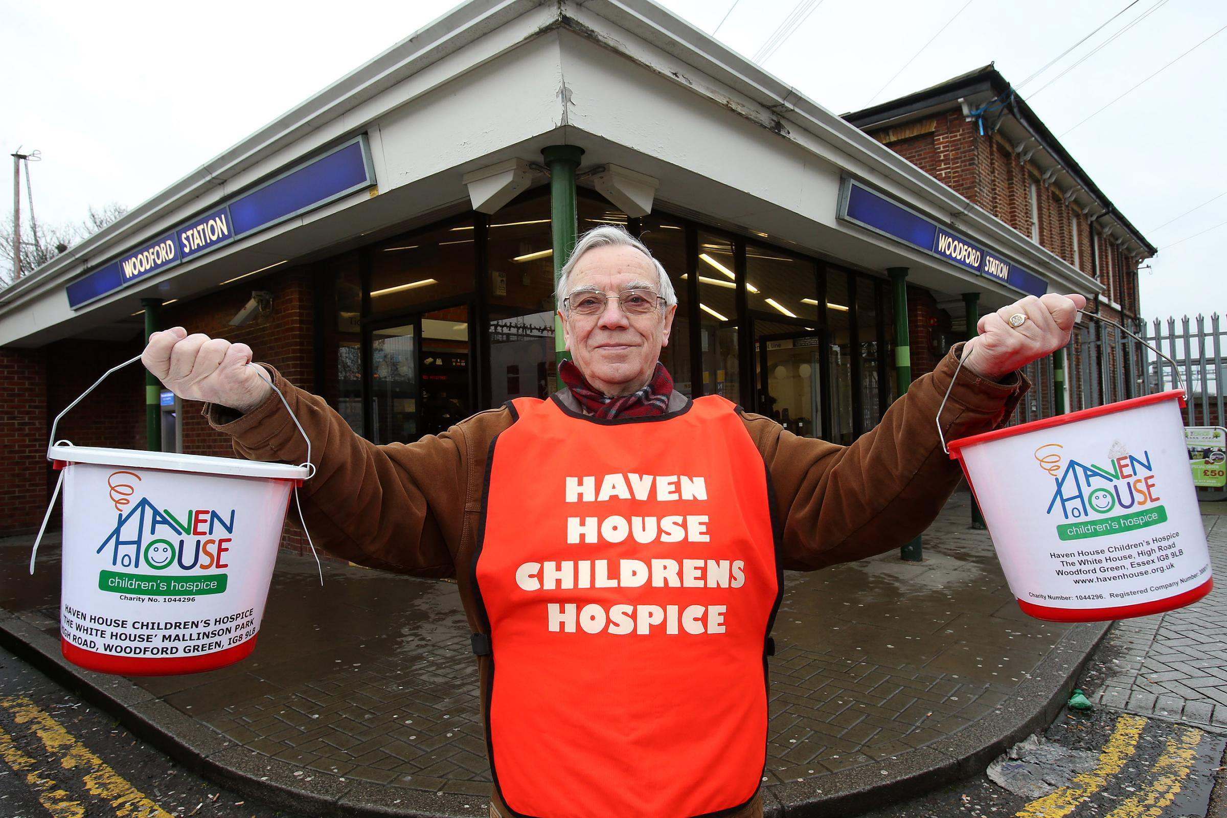 Haven House volunteer Don Foster outside Woodford station