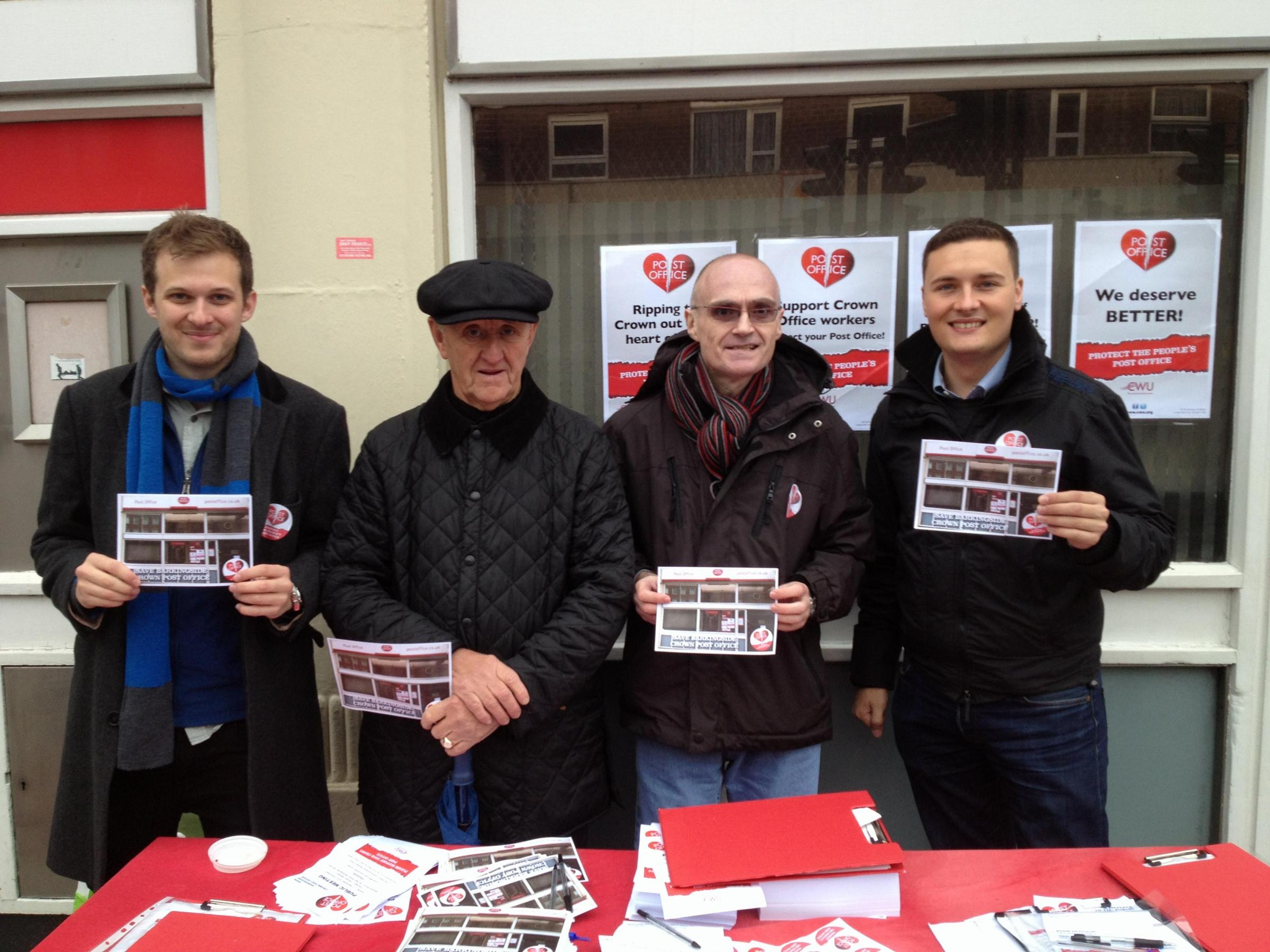 Campaigners outside Barkingside Post Office with Cllr Wes Streeting (right)