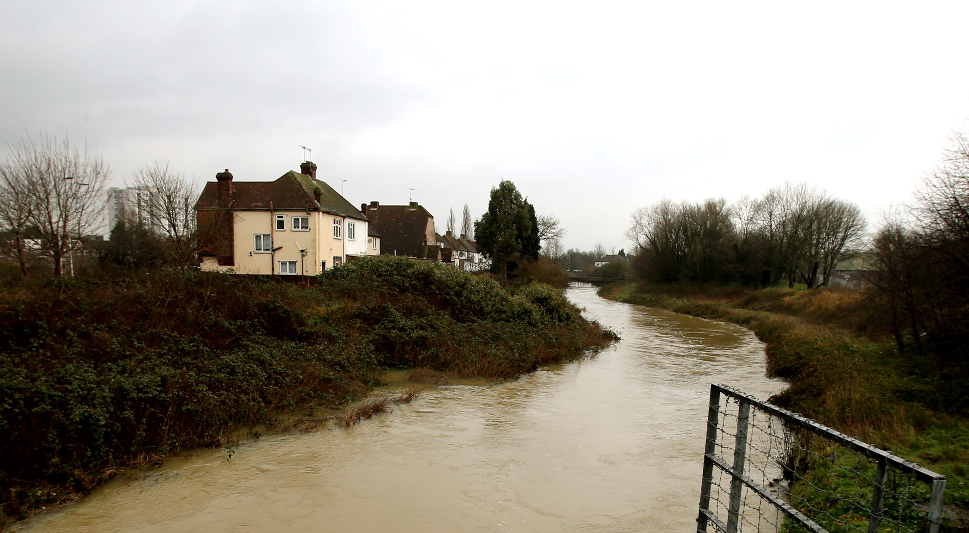 The lower River Roding was on and off flood alert in December, January and February