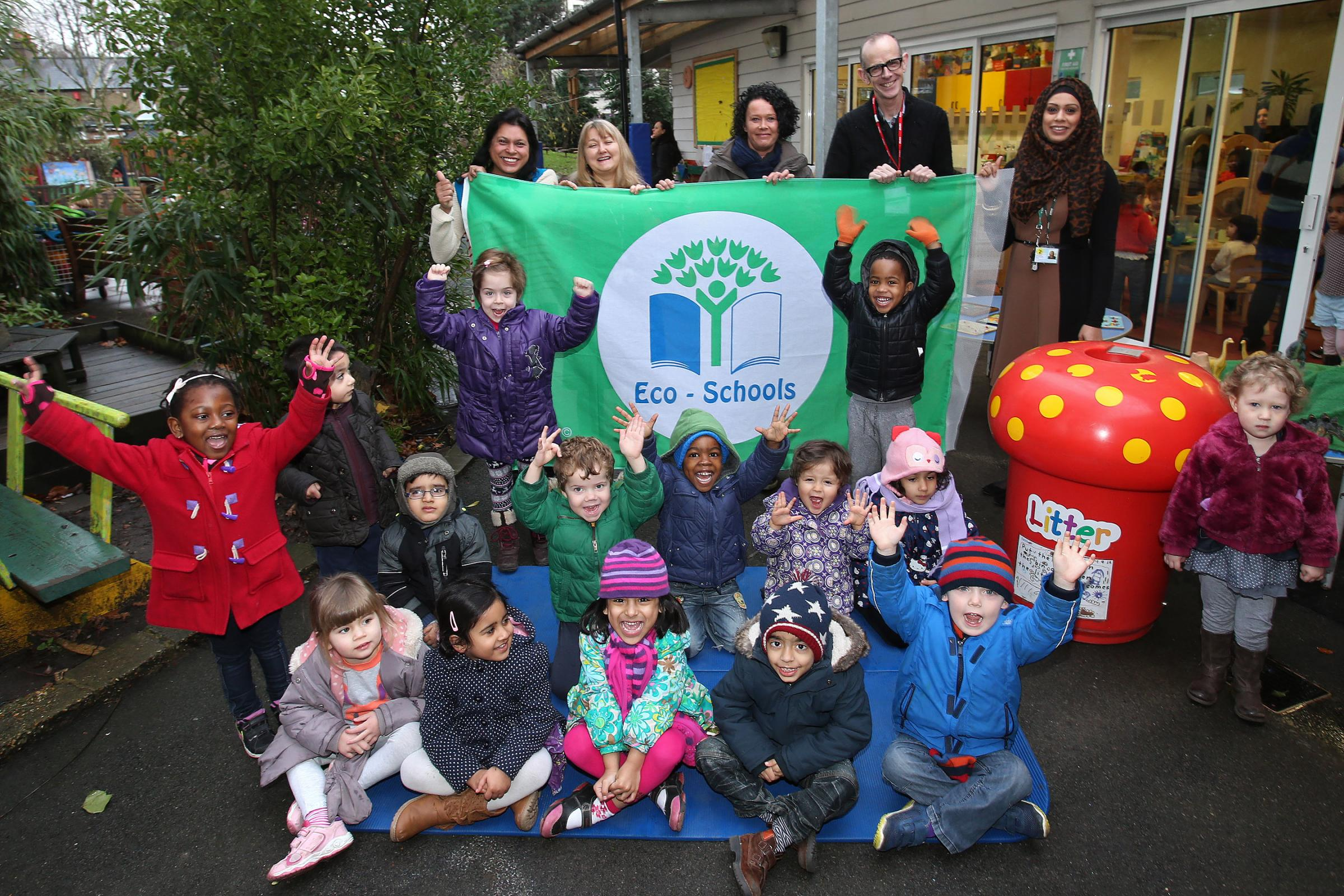 Children and staff at Church Hill Nursery School and Children's Centre with their Green Flag.