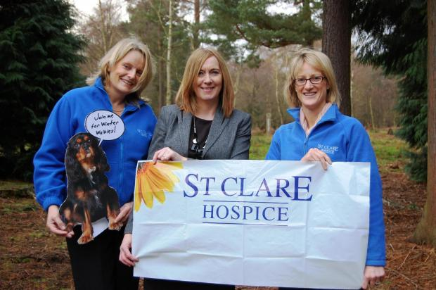 Rebecca Barnett and Anna Baldwin from St Clare with Maureen Coulson from GreenAcres, middle.