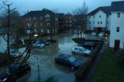 The car park of Mandeville Court underwater in February