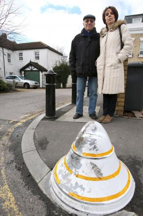 Judy Nathan and father Cyril Needleman with the bollard causing accidents