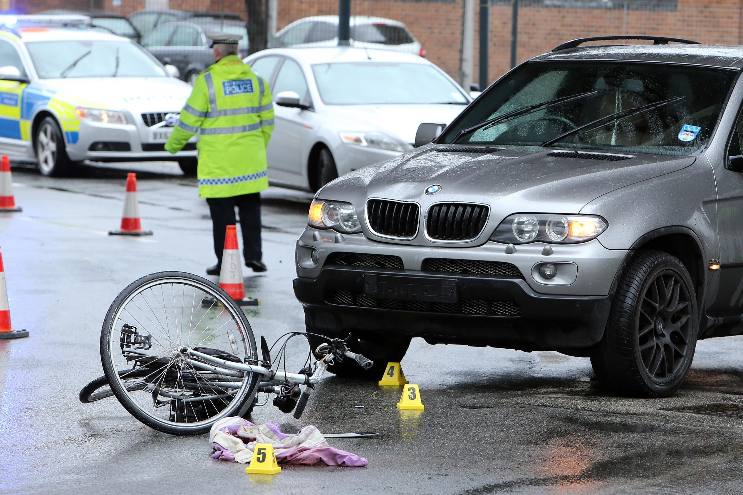 A cyclist has been taken to hospital after an accident on Charlie Brown's roundabout