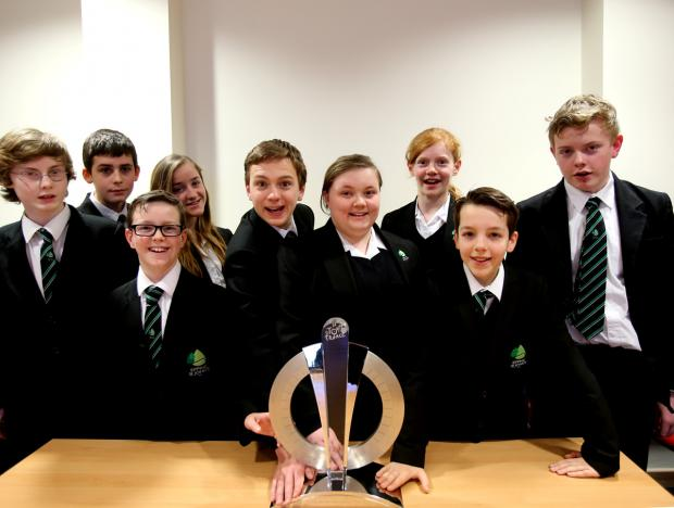 Epping St John's pupils with Le Grand Depart trophy