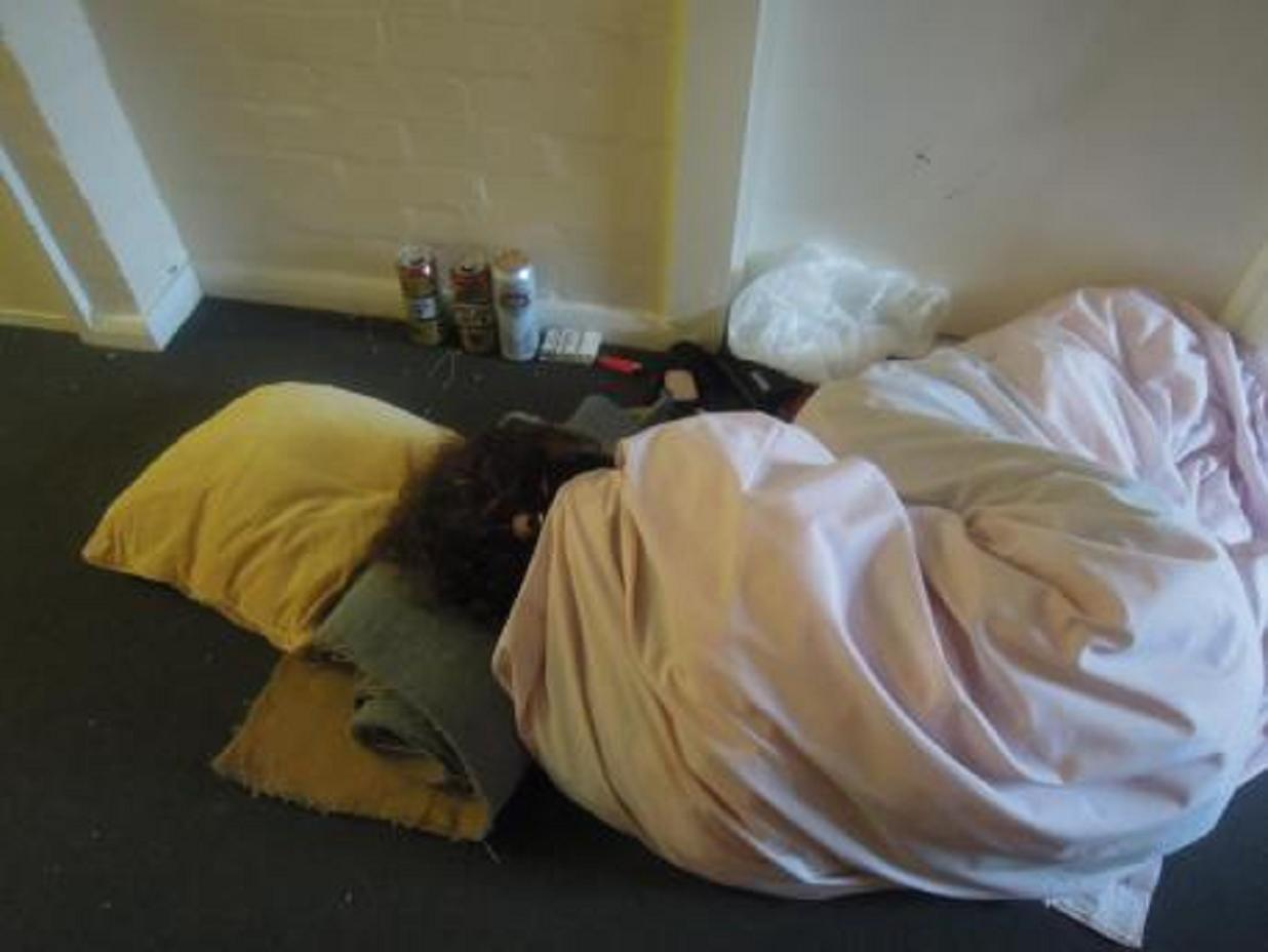 The woman pictured sleeping in a hallway in Chartwell Court