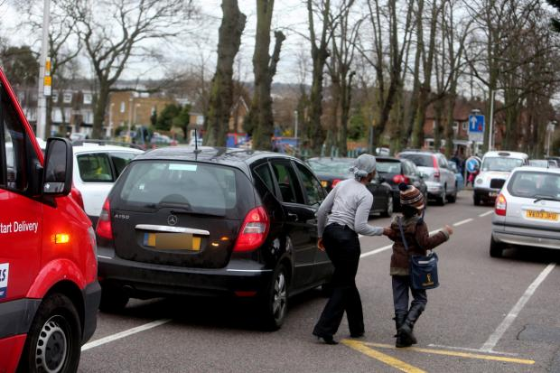Parents who drive are set to be acting irresponsibly outside Churchfields Junior School