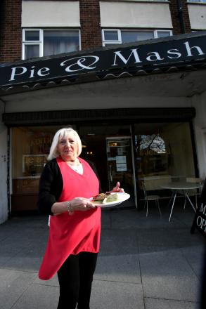 Maureen Bourne outside her pie and mash shop.