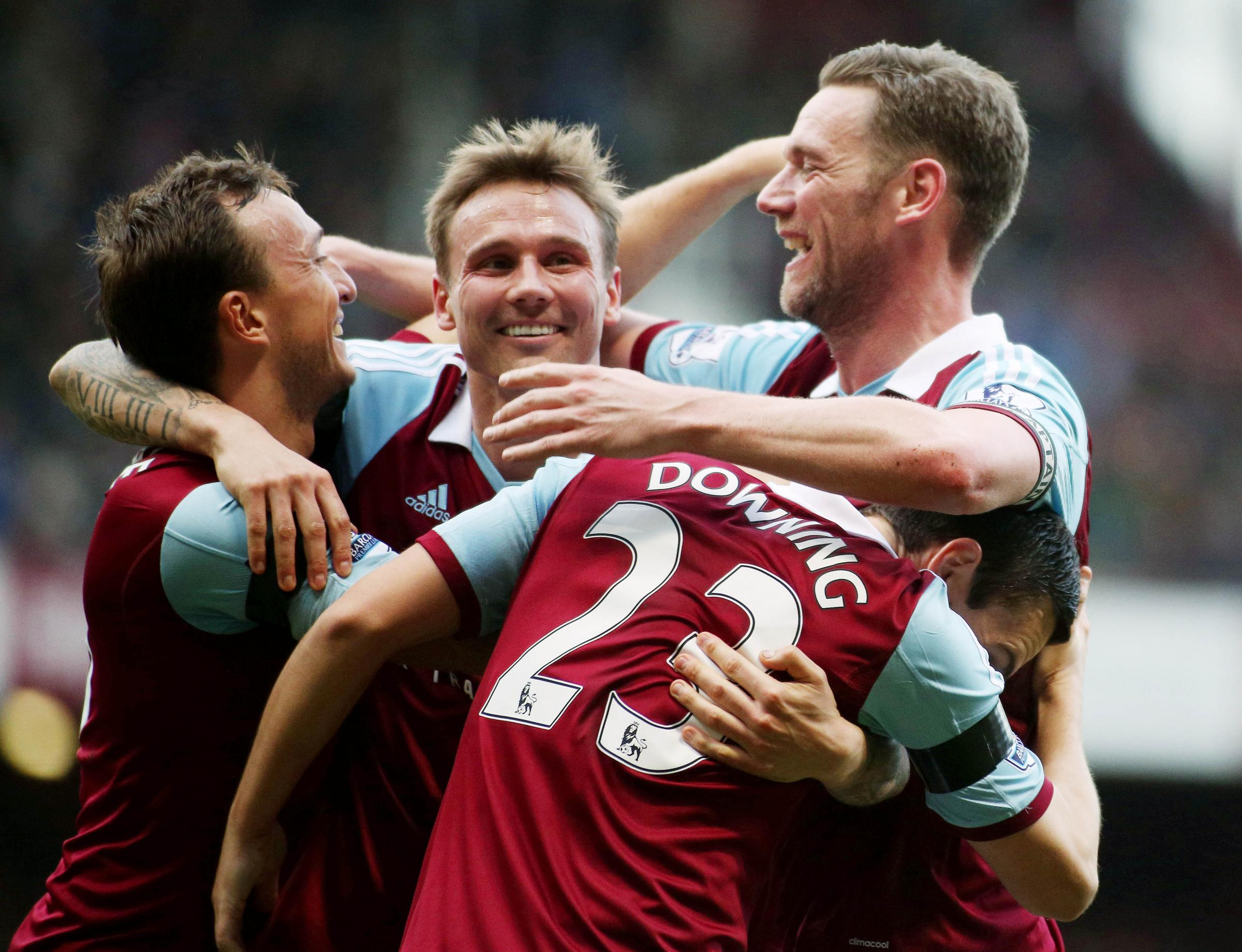 West Ham's Kevin Nolan celebrates scoring their third goal against Southampton. Picture: Action Images