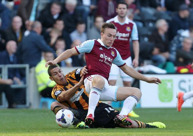 Mark Noble in action against Hull earlier this season. Picture: Action Images