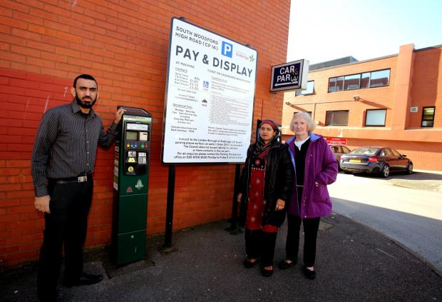 Faulty parking meters are causing anguish for patients at the South Woodford Medical Centre for staff as well as patients. Zeeshan Khan from the medical centre with patients Ellen Farrelly and Menu Begum