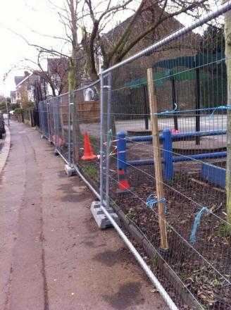 A temporary fence has been erected after fencing was damaged at Aldersbrook Primary School