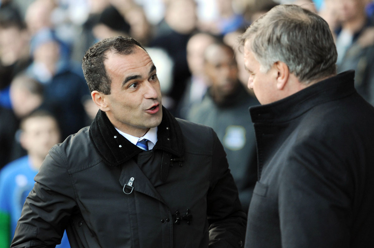 In conversation: Everton boss Roberto Martinez and Sam Allardyce. Picture: Action Images