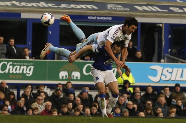 Everton's Leighton Baines (bottom) is challenged by West Ham United's James Tomkins. Picture: Action Images