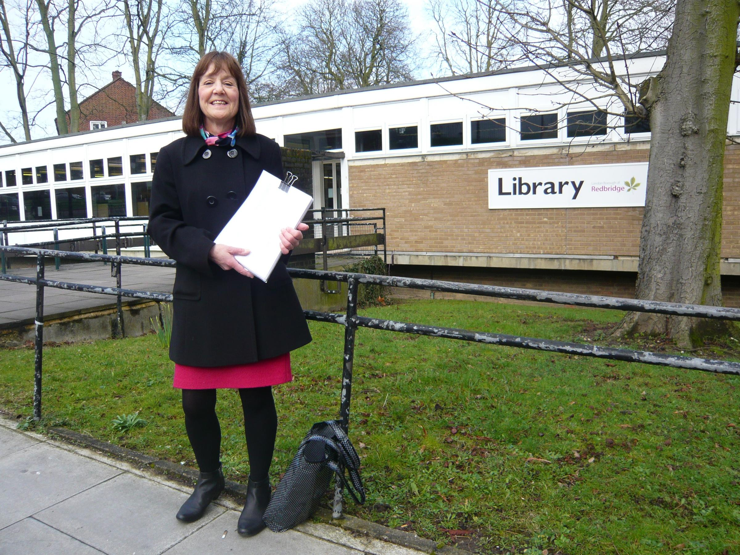 Anne Crook will hand over a petition of 550 signatures against the proposed move of Woodford Green Library