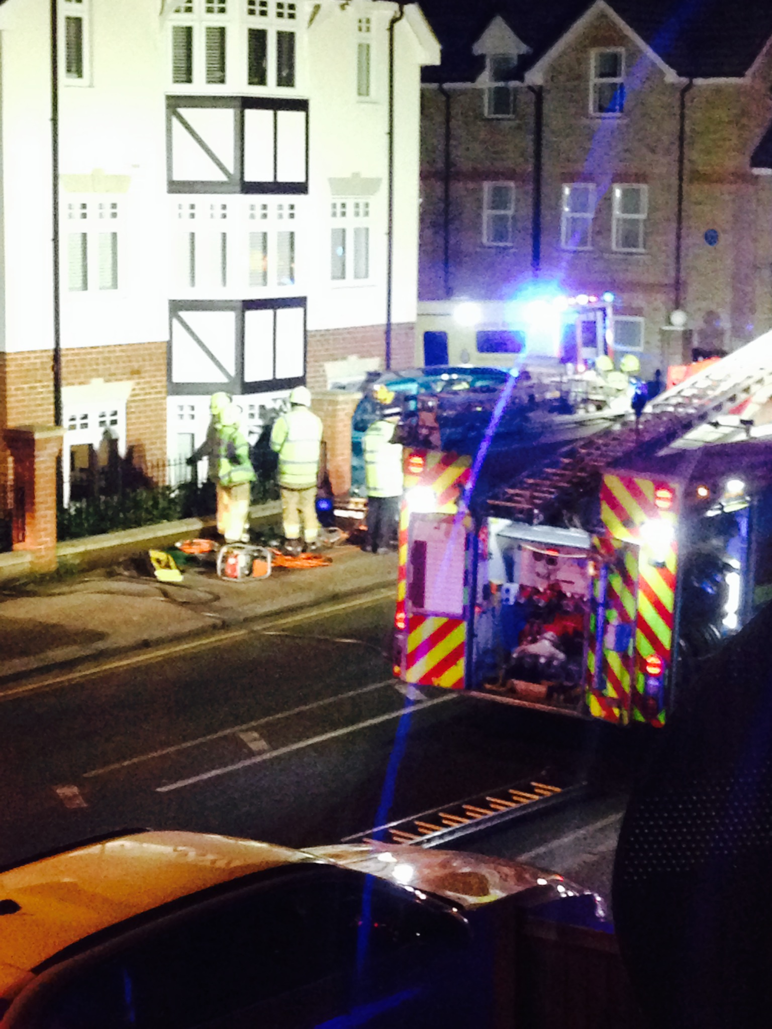 Firefighters at the Loughton junction last night. Jane MacDonald photo.