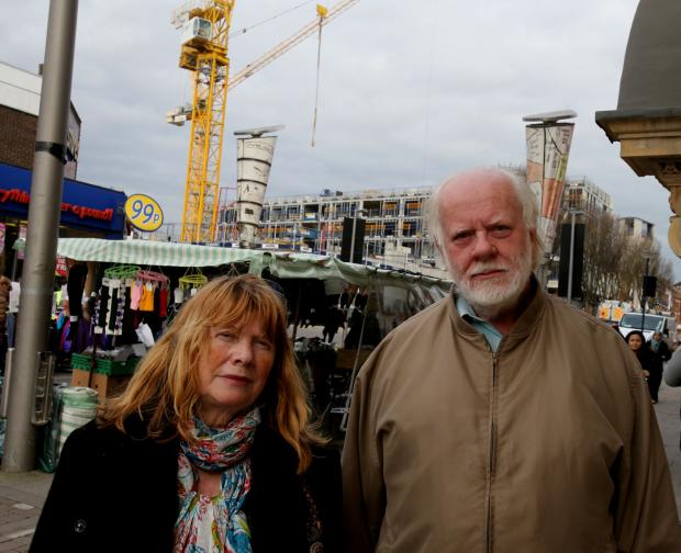 Concerned residents David Gardiner and Adele Tinman in Hoe Street, Walthamstow.