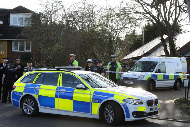Police at the scene in Mason Way today.
