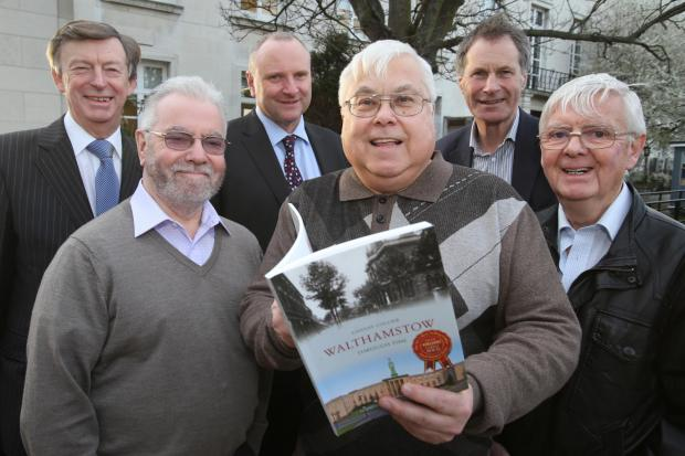 L-R: Councillor Michael Lewis, Walthamstow Pumphouse Museum chairman Bob Belam, Waltham Forest Council chief executive Martin Esom, Lindsay Collier, Ralph Ward and author Dr Jim Lewis.
