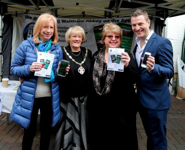 Epping Forest MP - Eleanor Laing, Waltham Abbey Town Mayor - Ann Mitchell, Chiarman of Waltham Abbey Town Partnership - Helen Kane and Matt Risley from Swivel Creations