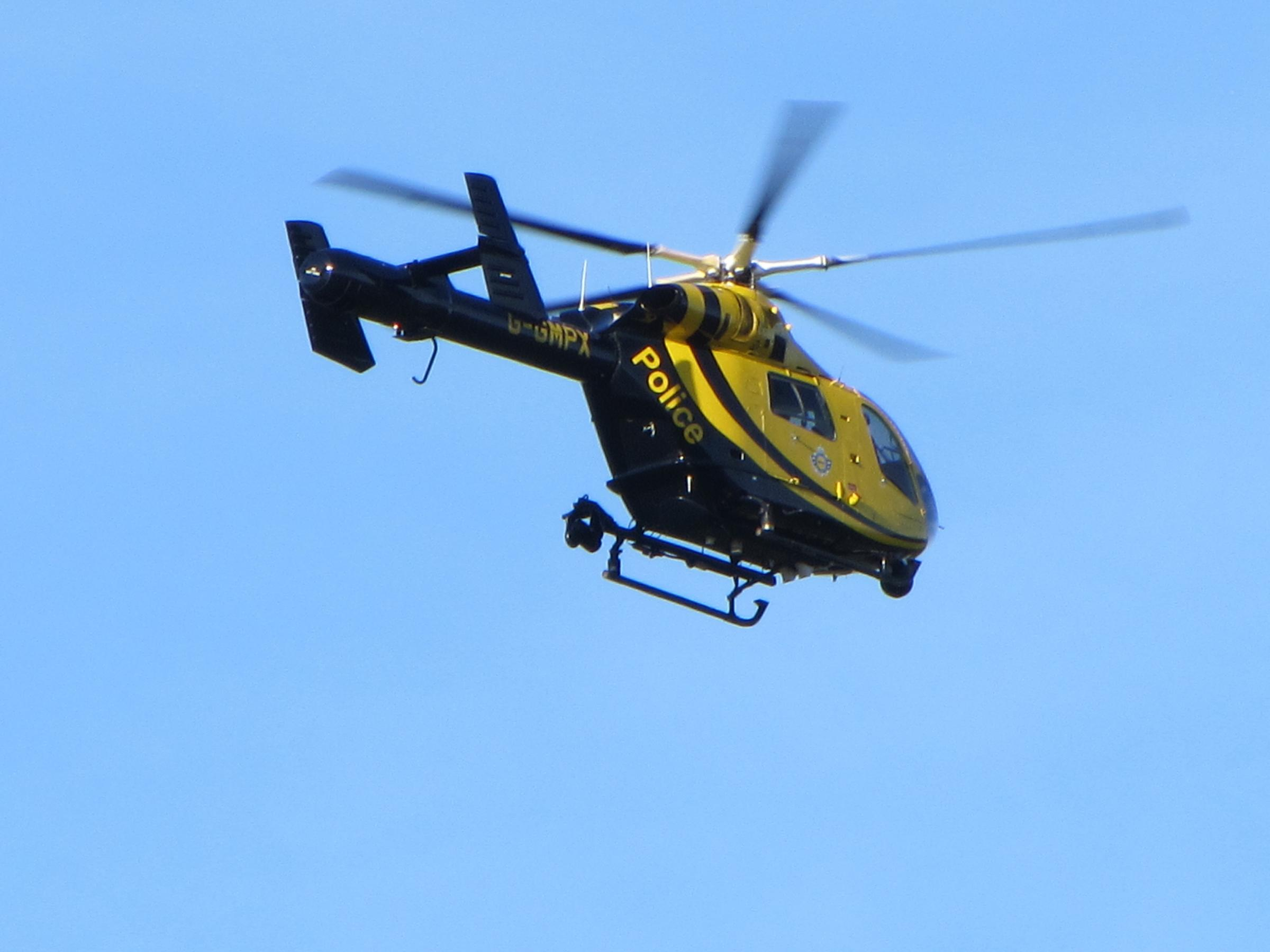 A police helicopter was deployed to help with search
