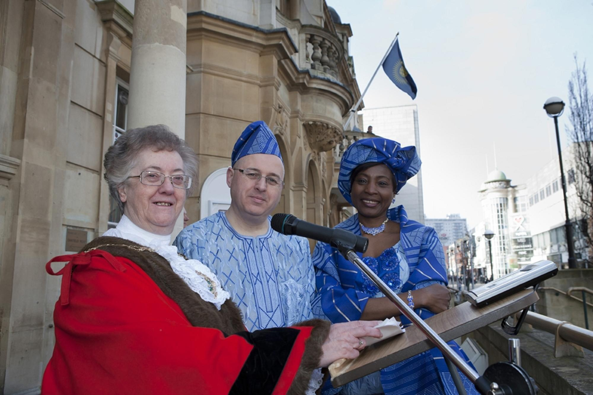 Redbridge Mayor Cllr Felicity Banks with Redbridge Council leader Cllr Keith Prince and his wife Tayo Prince, both in traditional Nigerian Yoruba dress