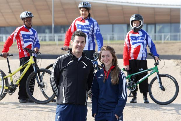 Lee Valley VeloPark ambassadors Laura Trott OBE and Mark Colbourne MBE outside the venue.