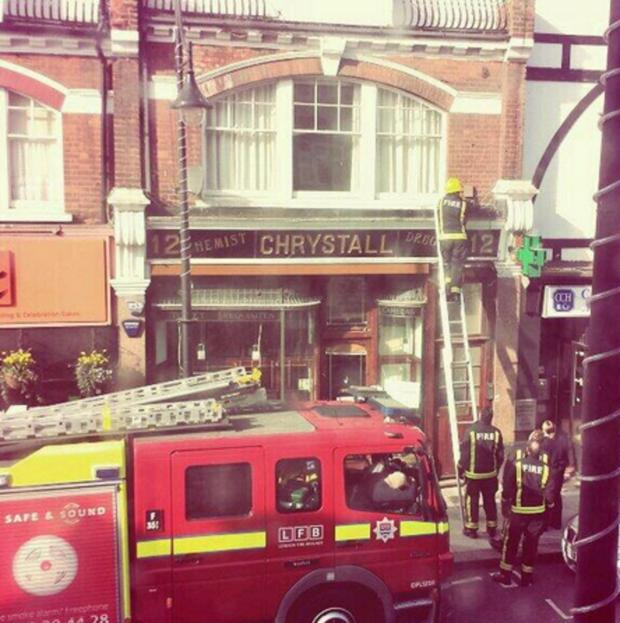 East London and West Essex Guardian Series: Firefighters approach the trapped pigeon
