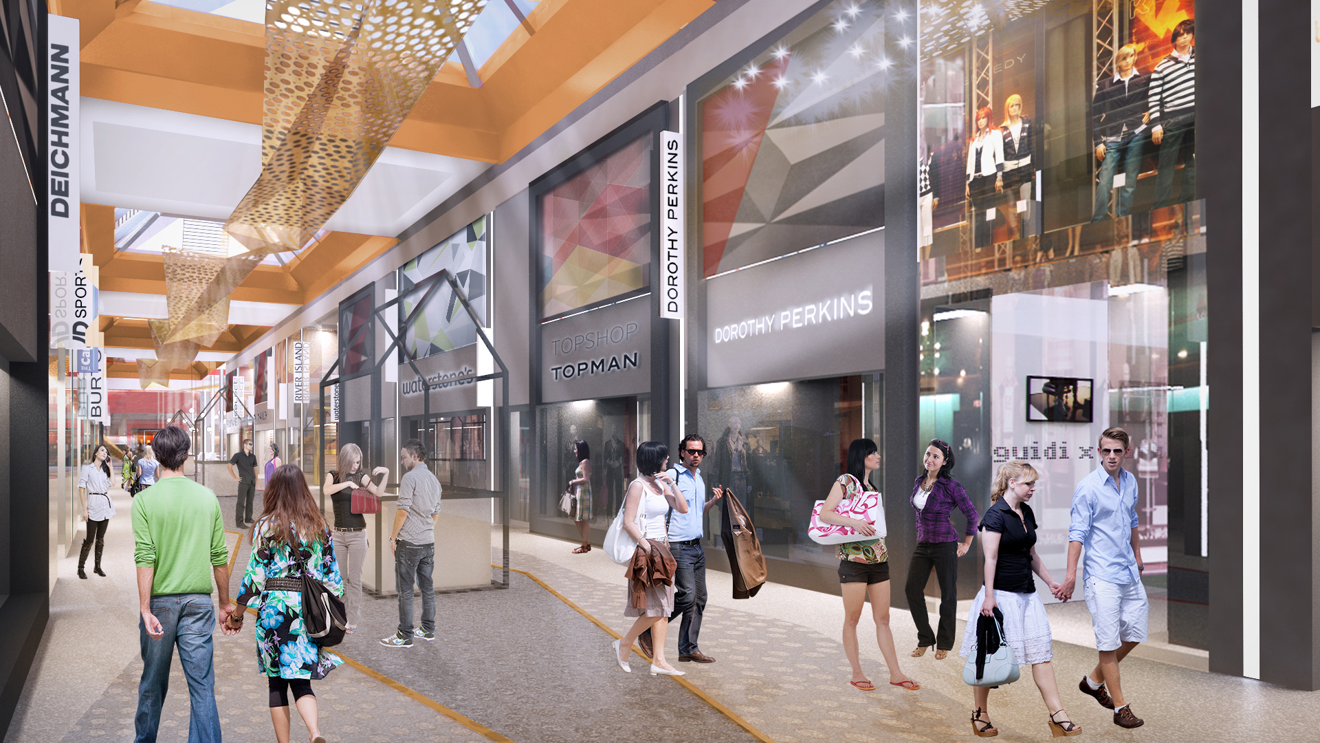 An artist's impression of the new interior of The Mall.