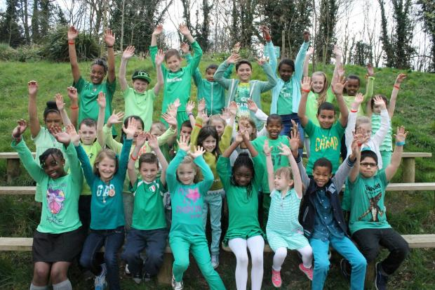 Pupils of Roding Primary School dressed in green for the day to celebrate St Patrick's Day