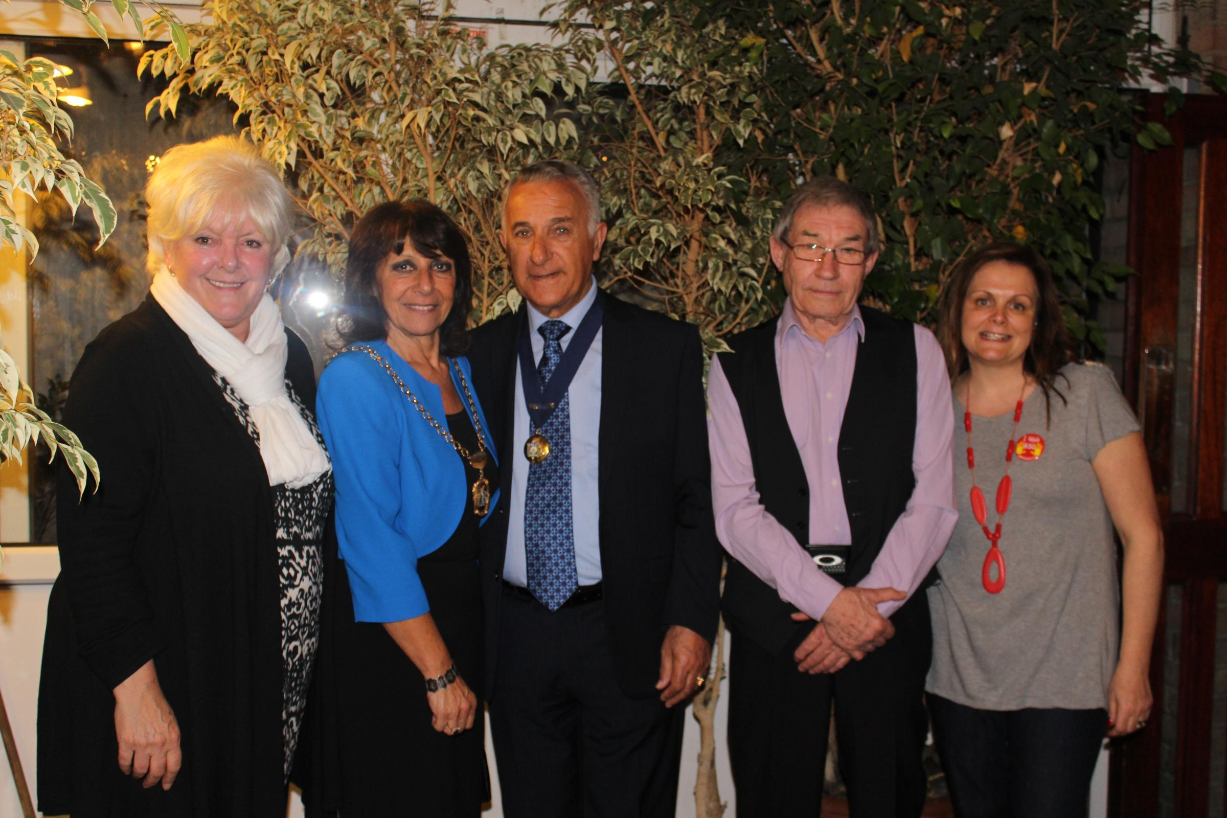 Forest Deaf Club Secretary Jackie Benson, Deputy Mayor Cllr Tania Solomon and her husband David, Uplands Social Club Secretary Terry Pearce, and Forest Deaf Club Chair Kirsti Clark